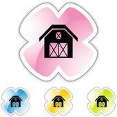 Barn icon button — Stock Vector