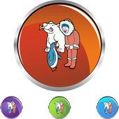 Eskimo icon button — Stockvektor