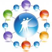 Couple Dancing web button — Stock Vector