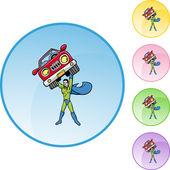 Superhero holds a car — Stock Vector