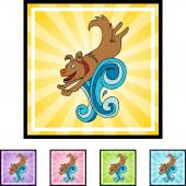 Swimming Dog web icon — Stockvector