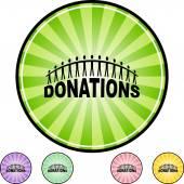 Donations web button — Stock Vector