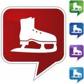 Ice skate icon button — Stock Vector