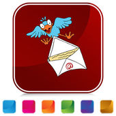 Bird Delivering Email Button Set — Stock Vector