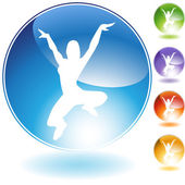 Leaping Dancer Crystal Icon — Stock Vector