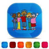 Children Diversity Gemstone Button Set — Stock Vector