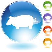 Pig Crystal Icon — Vetor de Stock