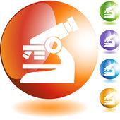 Microscope web button — Stock Vector