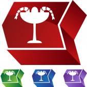 Shrimp Cocktail web button — Stock Vector