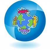 Car Globe web icon — Stock Vector
