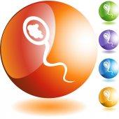 Sperm Cell web button — Stock Vector