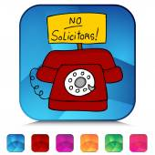 No Solicitors Telephone Mosaic Crystal Button Set — Stock Vector