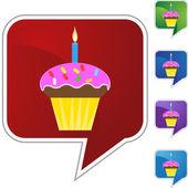 Birthday Cupcake  web button — Vetor de Stock