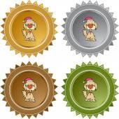 Christmas Dog web icon — Stock Vector