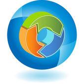 Recycling Arrow  web button — Stock Vector