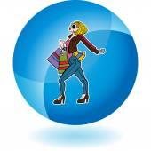 Shopping Woman web icon — Stok Vektör