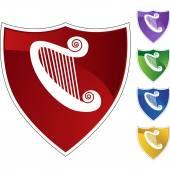 Harp web button — Stock Vector