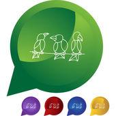 Perched Birds  web button — Stock Vector