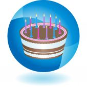 Icônes colorées de gâteau anniversaire — Vecteur