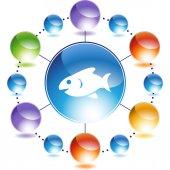 Fish web button — Stock Vector