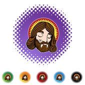 Jesus face icon button — Stock Vector