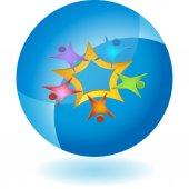 Teamwork icon button — Stock Vector
