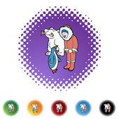 Eskimo icon button — Vettoriale Stock