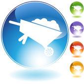Wheelbarrow Crystal Icon — Stock Vector