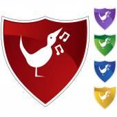 Singing Bird icon button — Vetor de Stock