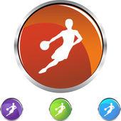 Przycisk web koszykówki — Wektor stockowy
