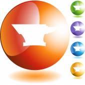 Anvil icon button — Stock Vector
