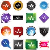 Ethernet Backbone icon button — Stock Vector