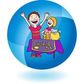 Lemonade Stand and kids web icon — Stock Vector