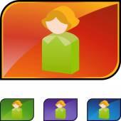 Woman Icon  web button — Stock Vector