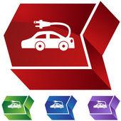 Electric Car icon button — Stock Vector