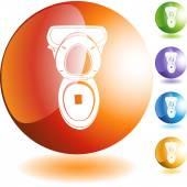 Toilet web button — Stock Vector