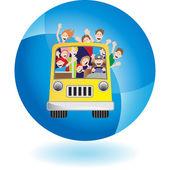 Bus Riders web icon — Stock Vector