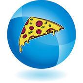 Кнопка со значком кусочек пиццы — Cтоковый вектор