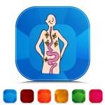 Health Digestion Gemstone Button Set — Stock Vector #64162467