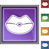 Kiss web button — Stock Vector
