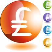 Tasto di web del segno dei soldi libbre — Vettoriale Stock