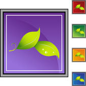 Leaf  web button — Stock Vector
