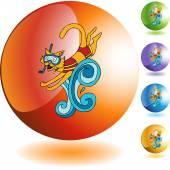 Swimming Cat web icon — Vector de stock