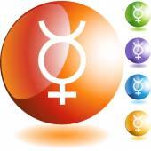 Mercury web button — Stock Vector