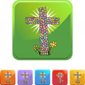 Easter Cross web icon — Stock Vector