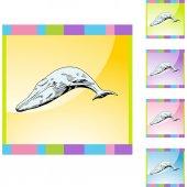 Whale web  button — Wektor stockowy