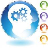 Cog Wheel Mind Crystal Icon — Stock Vector