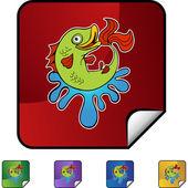 魚 web ボタン — ストックベクタ