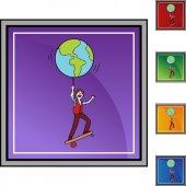 Balance World web icon — ストックベクタ