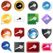 Lawn Blower Icon Set — Stock Vector